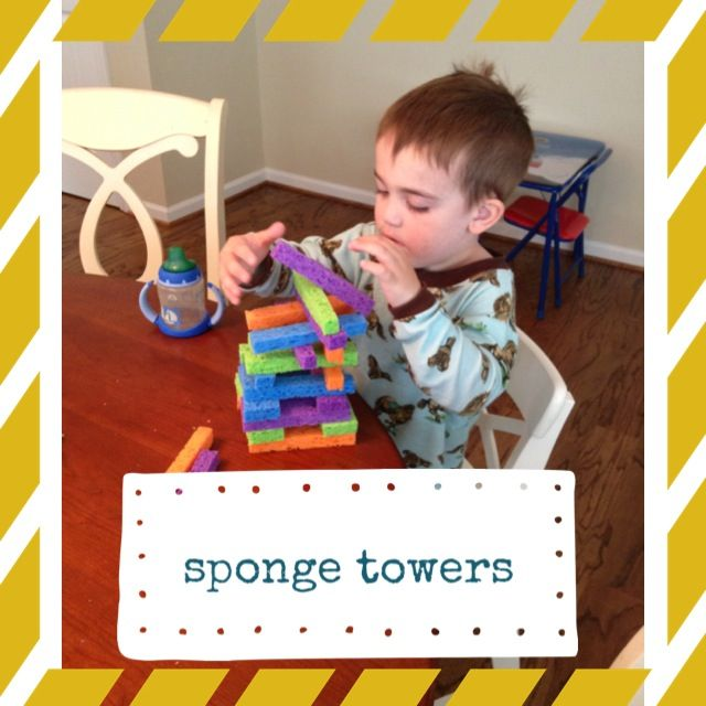 Cut kitchen sponges into strips for a great quiet activity.  Maybe for non sleepers.