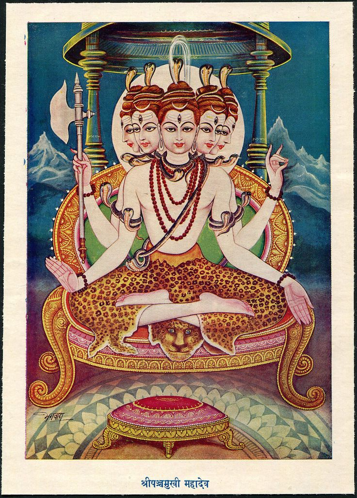 Spectacular View of 5 Faced Shiva 15 x 20cm 1960s India Hindu Gods Vintage Print | eBay