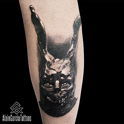 Frank the rabbit from Donnie Darko movie on Mick. Realistic Black and Grey Tattoo Artist | Sydney Tattoo Shop NSW Australia. #donniedarko #donniedarkotattoo #blackandgrey #realistic #sydney #tattoo #sydneytattoo