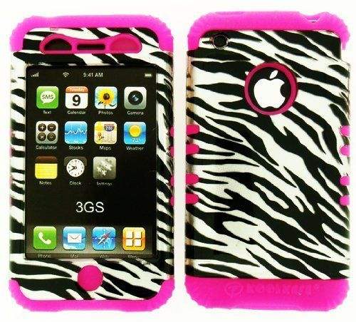 Generic Hybrid Case for Apple Iphone 3 GS - Black/Silver. IPHONE 3GS FOR AT&T HYBRID 2 IN 1 BLACK/SILVER ZEBRA. HARD PLASTIC SNAP ON OVER PINK SILICONE.