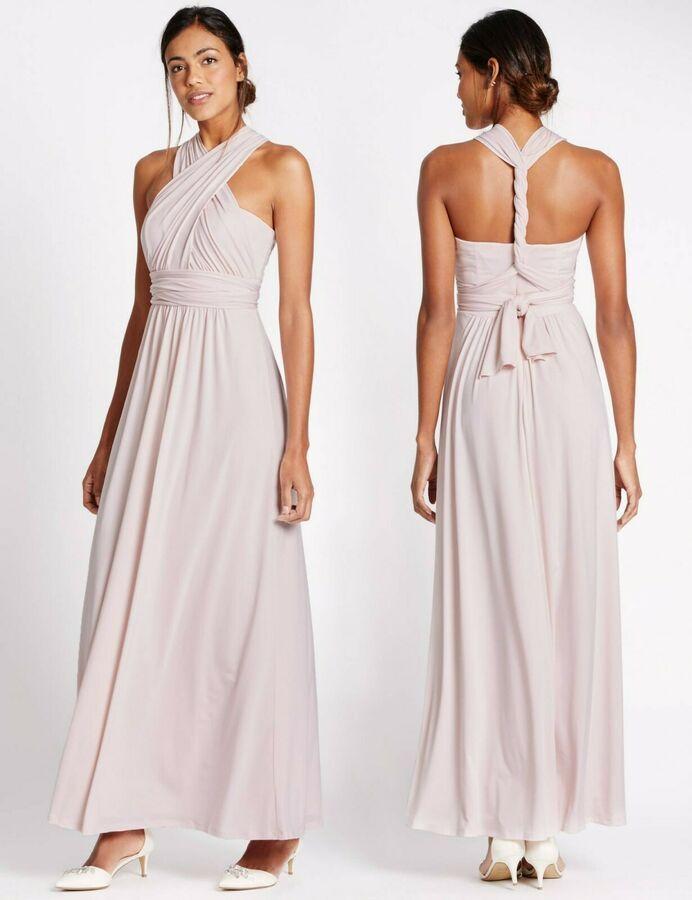 Ex M-S Ladies Black Ruched Front Slip Maxi Dress Sleeveless