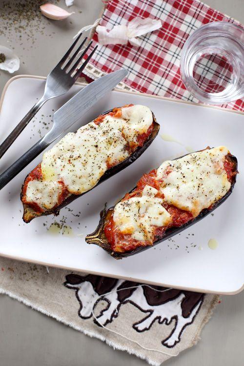 Aubergines rôties, sauce tomate et mozzarella