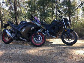 His & Hers Goals. Kawasaki Ninja 300 and Honda CB500