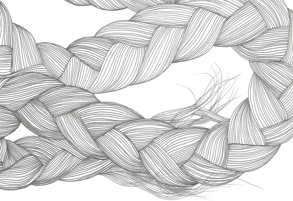 line drawing of hair