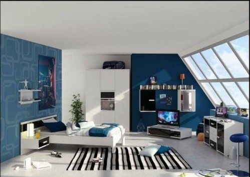 Cute blau bemalt jugendzimmer jungen teenage urban