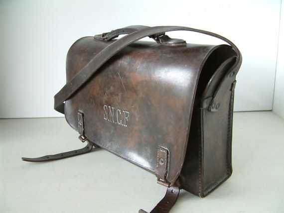 Vintage french SNCF train worker's leather tool bag. by Chanteduc, $185.00