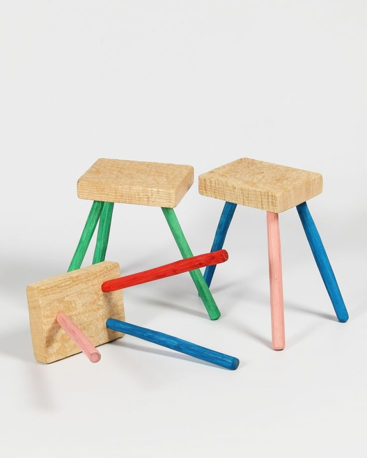 Three leg stool | seating | chair | Irish Craft | Colour | Shop | Design and Craft | Gifts | Makers&Brothers | Makers & Brothers | Wooden Stool | Children's Room | Furniture | Handmade | Kids