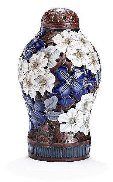 Fanny Garde: A molded and pierced lidded porcelain vase. Signed F. Garde 1490/15. Bing & Grøndahl. H. 44 cm.
