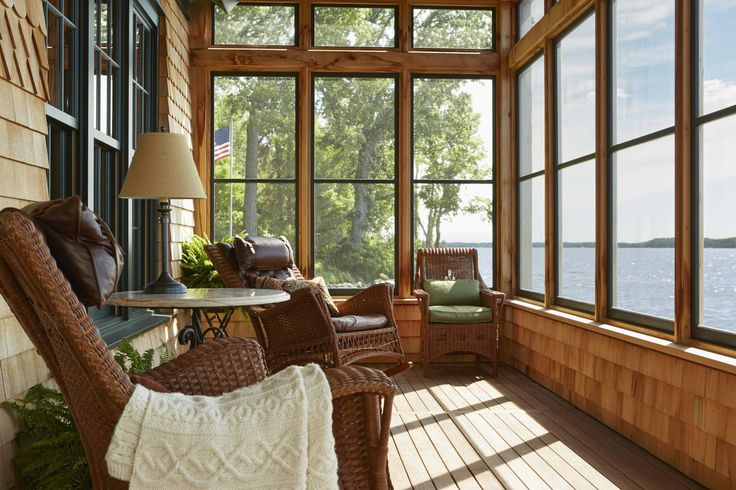 Screened porch with water views via Murphy & Co Design | Minneapolis Residential Architectural Design