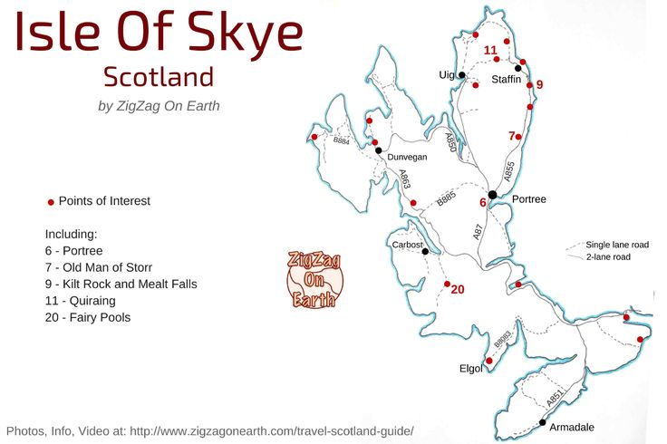 Isle of Skye map - tourism map - things to do in Skye island - isle of Skye attractions