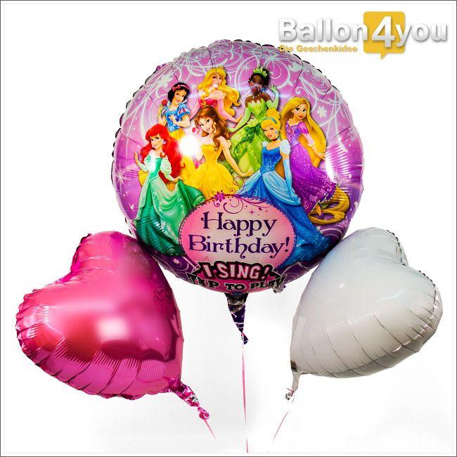 """Singendes Ballonbukett - Happy Birthday Princess  Ein Geburtstagsgeschenk wie im Märchen. Disney´s Prinzessinnen haben sich nur für diesen Tag fein gemacht und tragen ihre schönsten Kleider. Auf Kommando tragen Sie dann jenes vor, was sie wochenlang geübt haben - ein Ständchen für das Geburtstagskind. Abgerundet wird dieses """"königliche"""" Ballonbukett mit zwei Herzballons in den Farben weiß und rosa."""