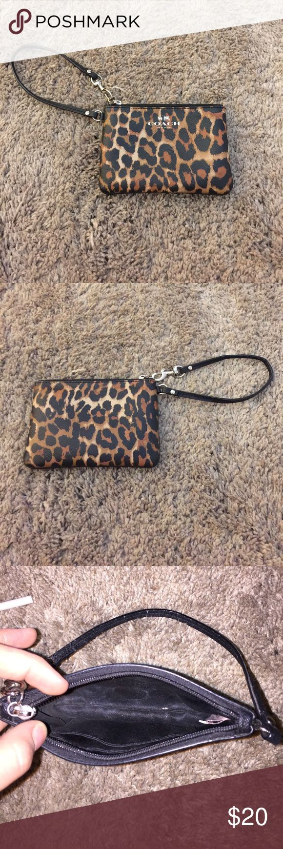 Authentic Cheetah Coach Wristlet Card pocket on interior, lightly worn on strap, very cute Coach Bags Clutches & Wristlets