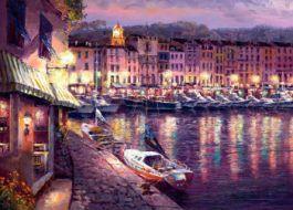 Éjszakai felvétel St. Tropez - Díszítette Giclee vászon - 18 x 24