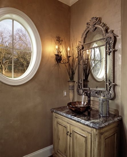 Tuscan powder room for the home pinterest powder Tuscan style bathroom ideas