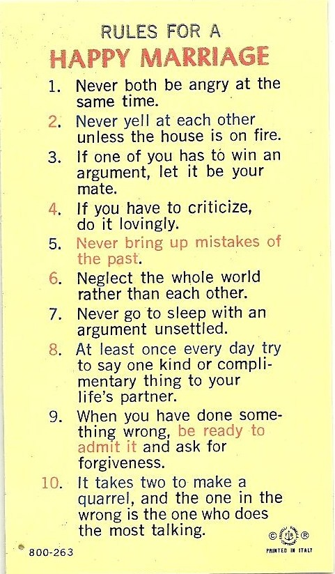Rules for a Happy Marriage.    I bought this at the Catholic Book Store the year we were first married.    And we have lived by this little laminated card and it's words ever since.  Certainly allows for a blessed marriage.