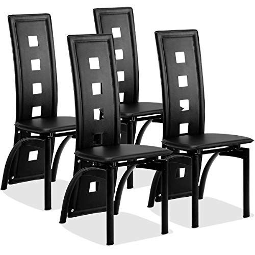 Giantex Set Of 4 Dining Chairs Heavy Duty Iron Frame Ergonomic Curved Backrest Food Pads For Home Kitchen Restaurant Black PRODUCT DETAILS This Is Our