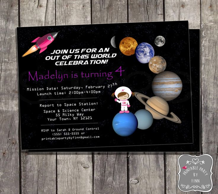 design birthday party invitations free%0A Girl Space Birthday Party Printable Invitation with Rocket  Planets