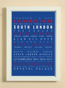 Crystal Palace Football Club Word Art Design Print - Words, Names And Facts Associated With Crystal Palace FC - In White Or Black A4 Box Frame