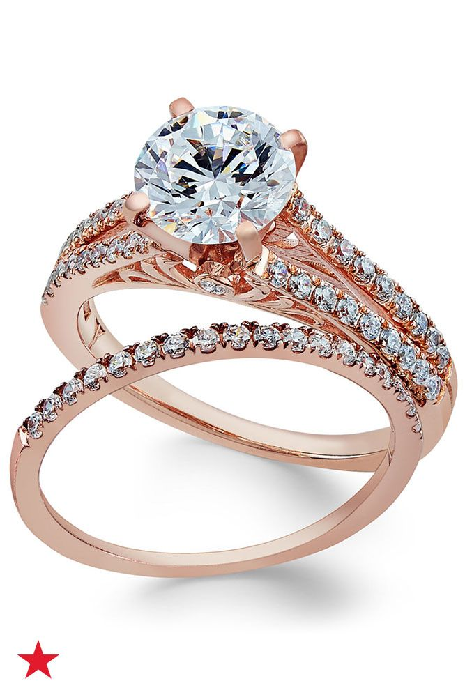 Certifiied Diamond Bridal Set 2 Ct Tw In 18k Rose Gold