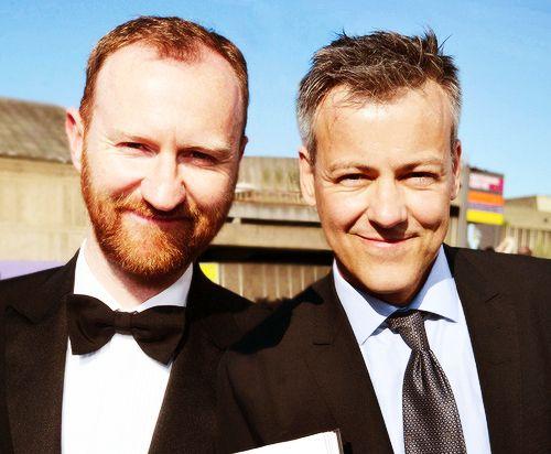 Mark Gatiss and Rupert Graves aka Mycroft  Lestrade. the face armor makes Mycroft look like Van Gogh