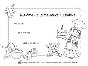 Dipl me de la meilleure cuisini re colorier et for Diplome de cuisine a imprimer