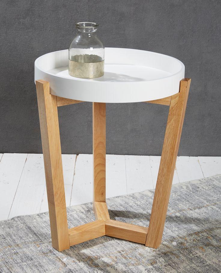 tabletttisch rund wei 40 cm mit holzbeinen natur retro retrolook. Black Bedroom Furniture Sets. Home Design Ideas