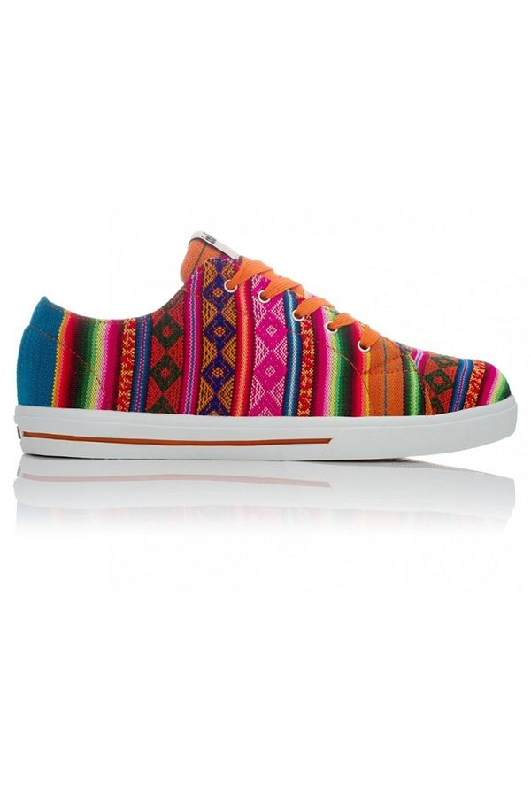These Inkkas kicks have got some spunk Colorful orange textile is handmade and sourced fair trade from Peru. Swap out orange laces to black or navy for a little more toned down look.
