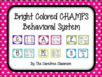 Here you will find a brightly colored CHAMPS behavior management system. There are multiple ways you can display this in your classroom. For the CHAMPS chart I added magnets and placed it on my dry-erase board. I also added an arrow in the middle with a brad and then I could easily move the arrow to the task or expectation.