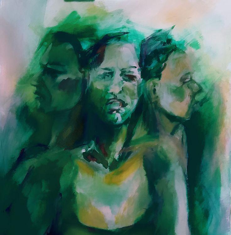 Disgust Portrait Painting Acrylic on canvas 60x60cm by Elena Ci on Pinterest http://it.pinterest.com/87elleci/