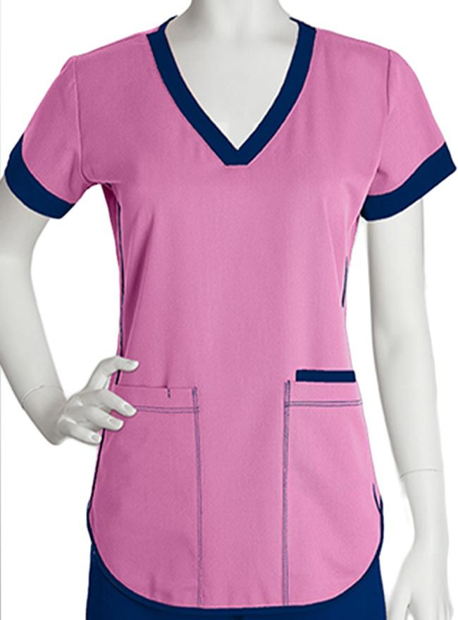 Style Code: (BA-3159) Make your shift one of the unique days with this one of a kind scrub top from Barco for women. This gives off very nice style and fashion that stands out for it has contrast squared v-neckline and contrast banded sleeves. It also has piping detail, fitted back and three functional pockets. This nursing scrub top is built with polyester, rayon and spandex fabric blend.