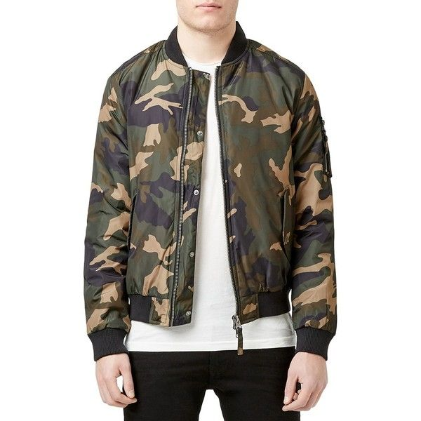 Topman Insulated MA-1 Camo Bomber Jacket ($110) ❤ liked on Polyvore featuring men's fashion, men's clothing, men's outerwear, men's jackets, green multi, mens green bomber jacket, mens military jacket, mens green military jacket, mens camo jacket and mens military style jacket