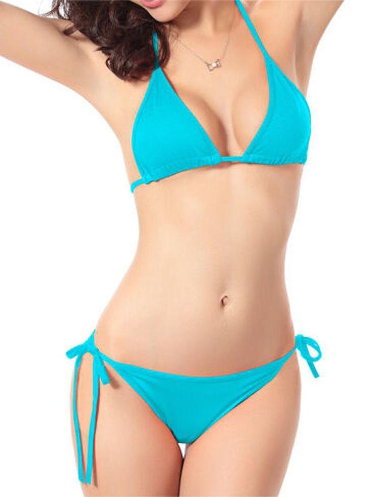 Women Sexy Halter Backless Plunge Swimwear Lace-Up Pure Color Bikini Sets at Banggood