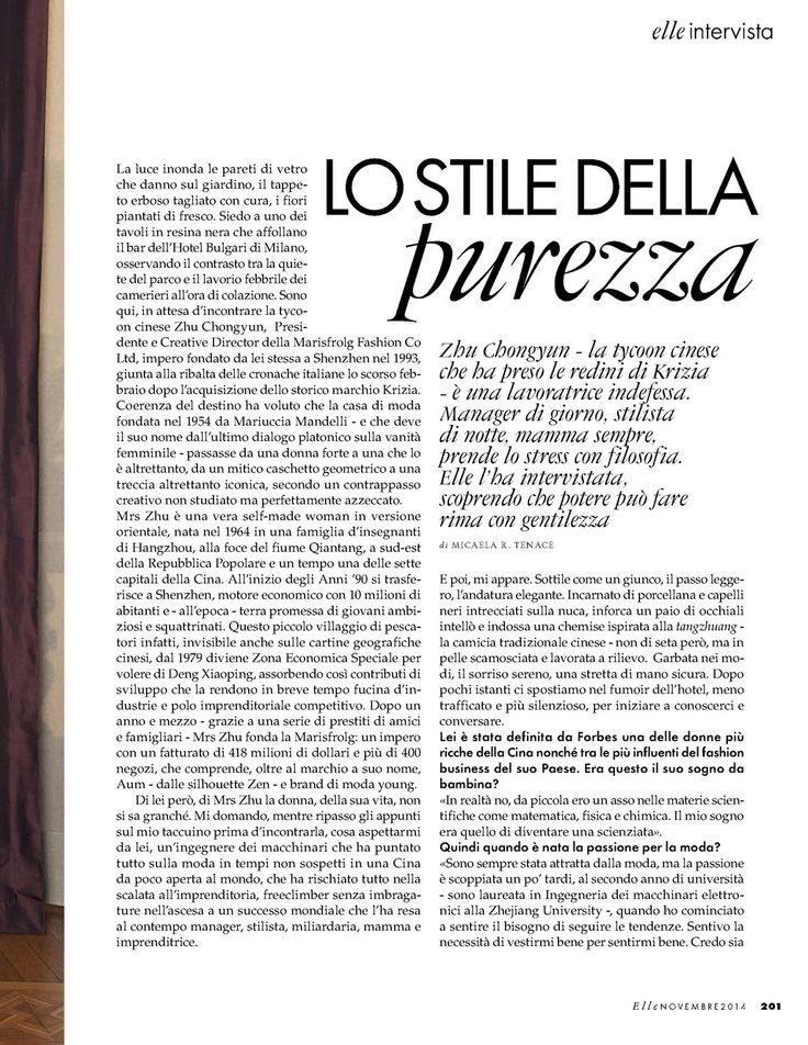 The style of purity. @Elle_Italy
