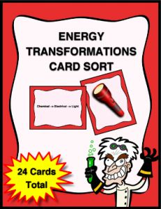 Energy Transformations Card Sort Activity that will help reinforce energy transformations in everyday objects.
