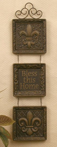Stamped Tin-Bless This Home-Fleur de Lis; Bless This Home; Wall Decor; Home Decor