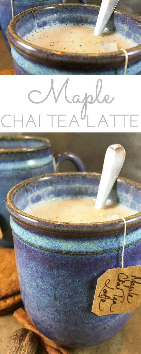 Maple Chai Tea Latte is a spicy, comforting hot drink for chilly winter days. Chai tea leaves are steeped in milk with pure vanilla & maple syrup! #MapleSyrup #ChaiTeaLatte #Latte #Maple