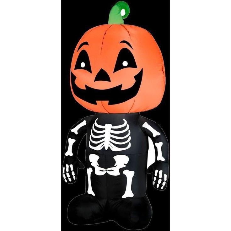 Halloween Airblown 3.5 ft. Inflatable Pumpkin Boy Skeleton for House Garden Deco #halloween #airblown