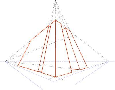 Lijnperspectief met drie verdwijnpunten; twee op de horizon en één omhoog.
