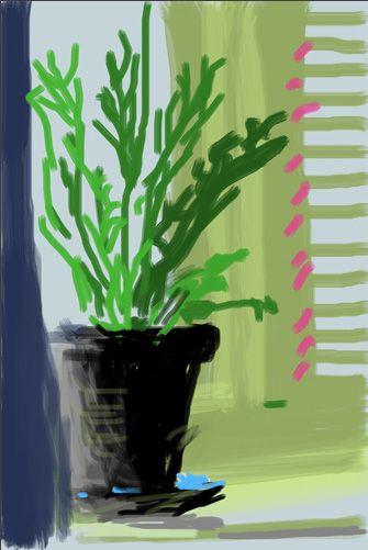 David Hockney:  http://assets.flavorwire.com/wp-content/uploads/2010/11/Picture-2.jpg