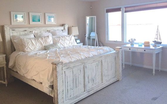Reclaimed wood bed frame by GriffinFurniture on Etsy