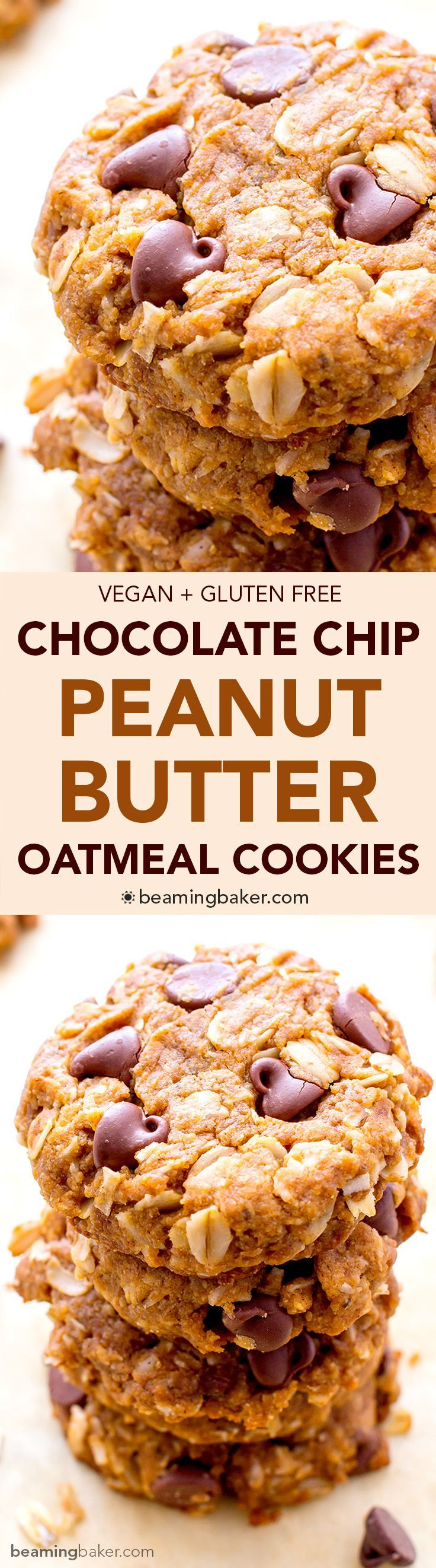 Peanut Butter Chocolate Chip Oatmeal Cookies (V+GF): An easy recipe for soft, deliciously textured cookies with oats, coconut, and LOTS of peanut butter and chocolate. #Vegan #GlutenFree | BeamingBaker.com