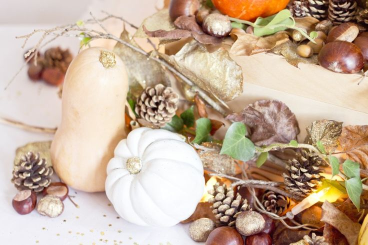 Décoration table ou buffet avec courges, marron, feuilles, pomme de pain ...