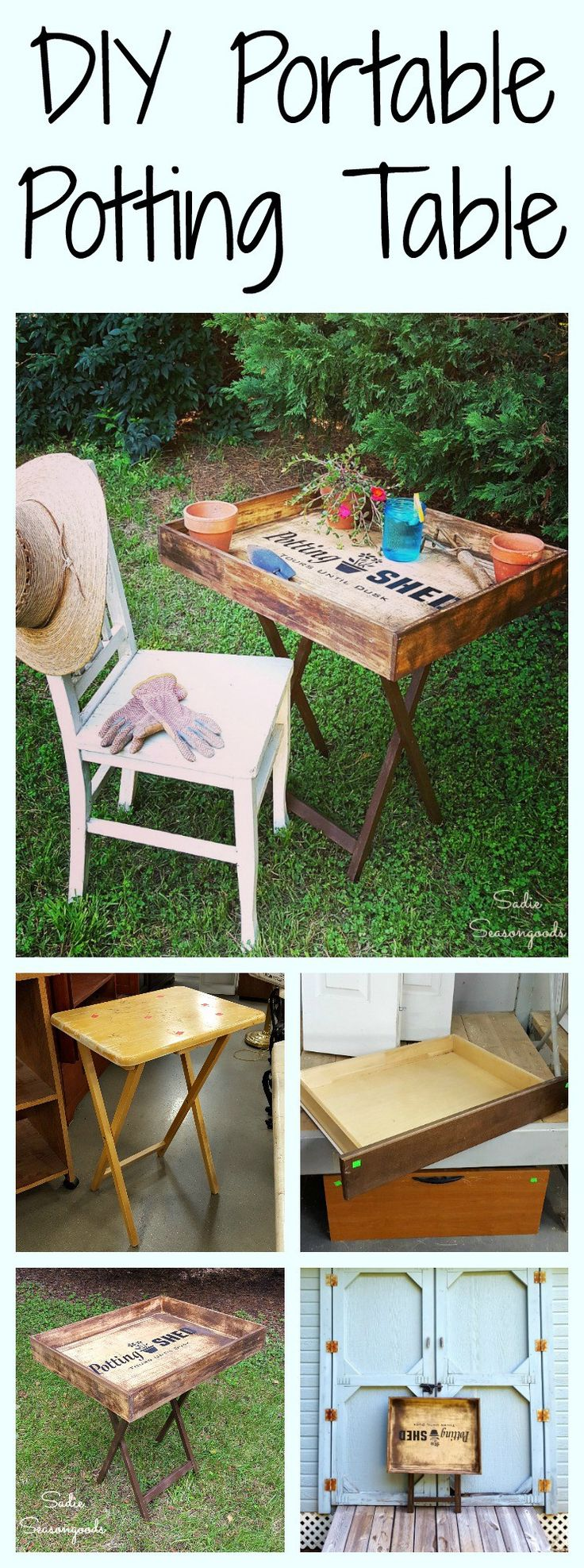 I absolutely love a gorgeous potting bench...but they're usually too large for my living space. So I decided to create something smaller and portable that I could tuck away at season's end. I repurposed an old wooden tray table with a shallow salvaged dresser drawer to create a DIY portable potting bench table that I can store in my shed during the winter! And I used Funky Junk Old Sign Stencils to give it a little more character. Super easy DIY upcycle craft project from Sadie Seasongoods…