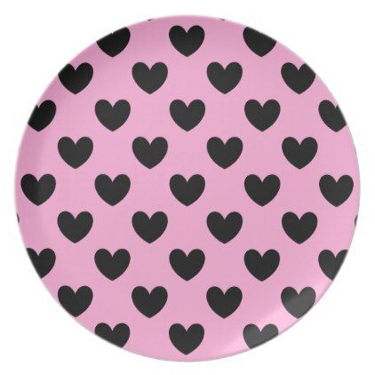 Black polka hearts on cotton candy pink dinner plate - kitchen gifts diy ideas decor special unique individual customized