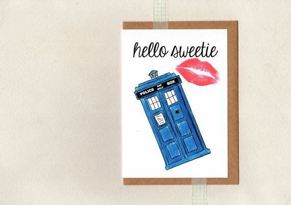 HELLO SWEETIE card . dr who . tardis . geek whovian . valentine love crush . river song . greeting card sci fi valentines day card . etsyau