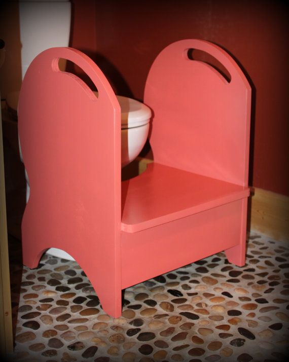 Deluxe Wood Potty Step Stool Coral Isle By Clemswshop On Etsy
