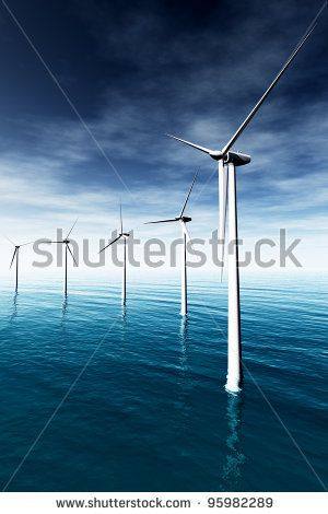 Windfarm in the Sea 3D render - stock photo