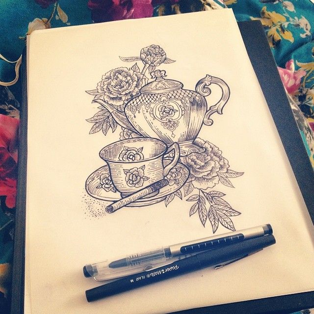 Love days off drinking tea and drawing in bed. Tea and cigarette memorial piece for a best friend that we will hopefully be tattooing at the...