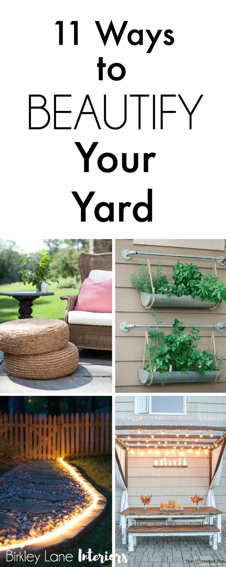 Are you ready for warmer weather? That means time spent outside! Click here for 11 amazing outside decor ideas and beautify your yard! Outdoor decor, outdoor decor ideas, outdoor patio ideas, outside decor, porch decorating, decorate outside of house fron