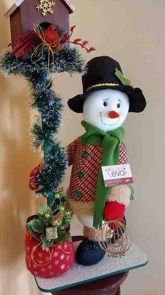 Muñeco de nieve con pajarera